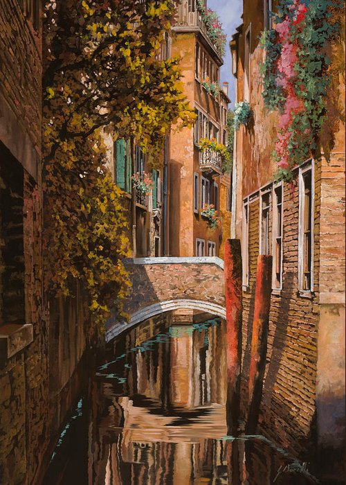 Venice Greeting Card featuring the painting autunno a Venezia by Guido Borelli