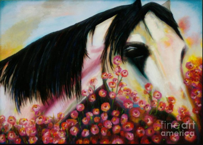 Horse Greeting Card featuring the painting Avalon's Rose by Sidra Myers