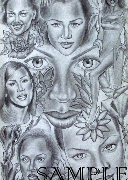 Portraits Greeting Card featuring the drawing Avanessafacad by Rick Hill