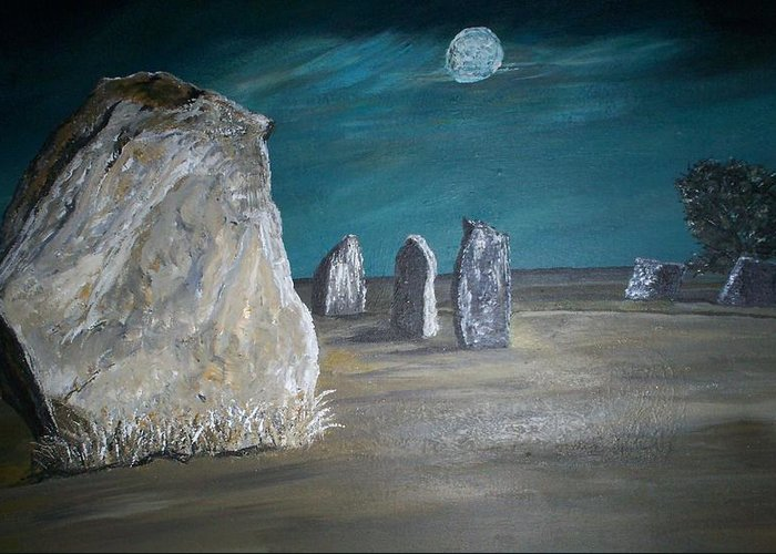 Avebury Greeting Card featuring the painting Avebury Stone Circle by Tracey Mitchell