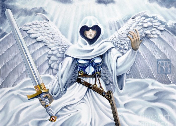 Angel Greeting Card featuring the painting Avenging Angel by Melissa A Benson