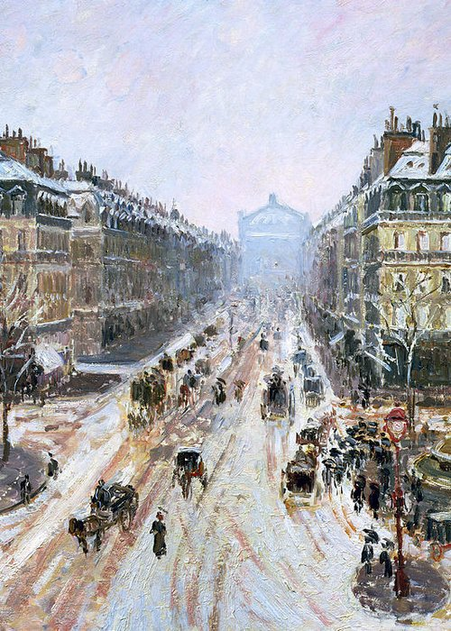 Avenue Greeting Card featuring the painting Avenue De L'opera - Effect Of Snow by Camille Pissarro