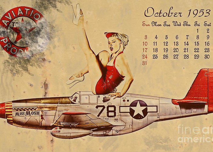 Pin Up Art Greeting Card featuring the digital art Aviation 1953 by Cinema Photography
