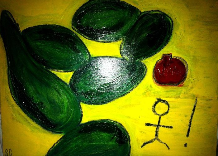 Avocado Greeting Card featuring the painting Avocado Man by Solenn Carriou