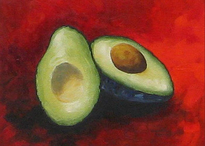 Avocado Greeting Card featuring the painting Avocado On Red by Torrie Smiley