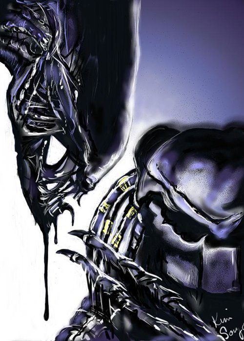 Alien Greeting Card featuring the digital art AVP by Kim Souza