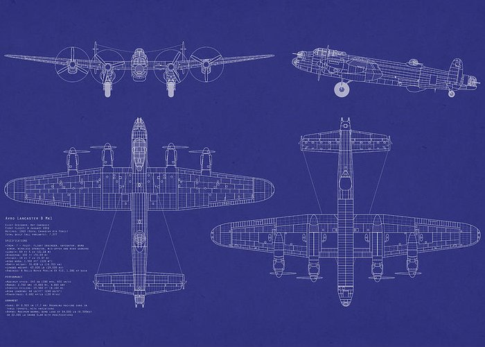 Avro Lancaster Bomber Greeting Card featuring the digital art Avro Lancaster Bomber Blueprint by Michael Tompsett