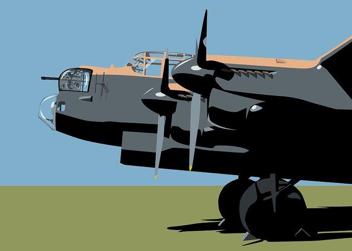Avro Greeting Card featuring the digital art Avro Lancaster Bomber by Michael Tompsett