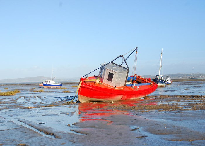 Seascape. Boats Greeting Card featuring the photograph Awaiting The Tide by Peter Jenkins
