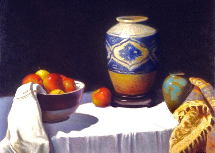 Still Life Realism Greeting Card featuring the painting Awaiting Vases With Fruit by David Olander