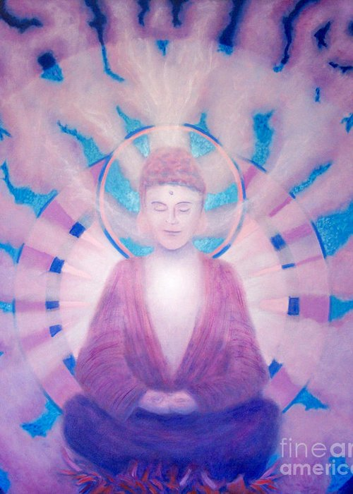 Buddha Greeting Card featuring the painting Awakening Buddha by Brian Commerford