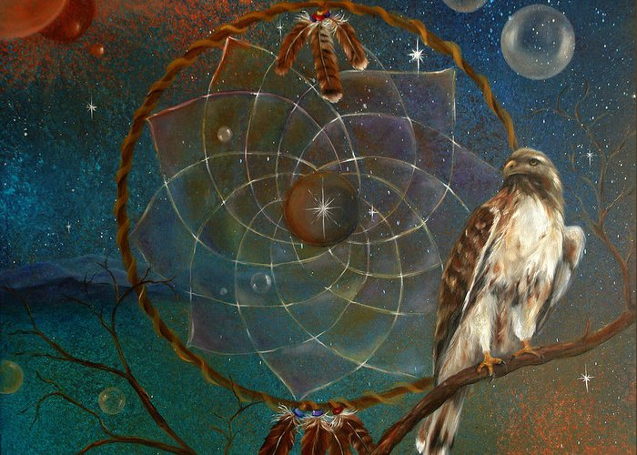 Red Tailed Hawk Greeting Card featuring the painting Awakening Visionary Power by Sundara Fawn