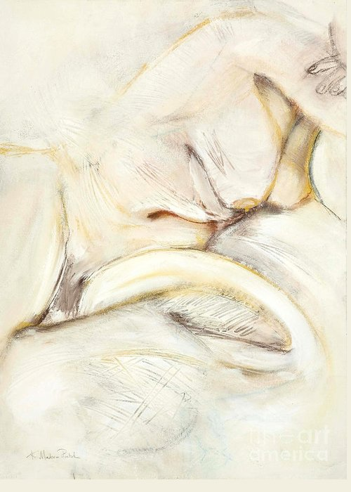 Female Greeting Card featuring the drawing Award Winning Abstract Nude by Kerryn Madsen-Pietsch