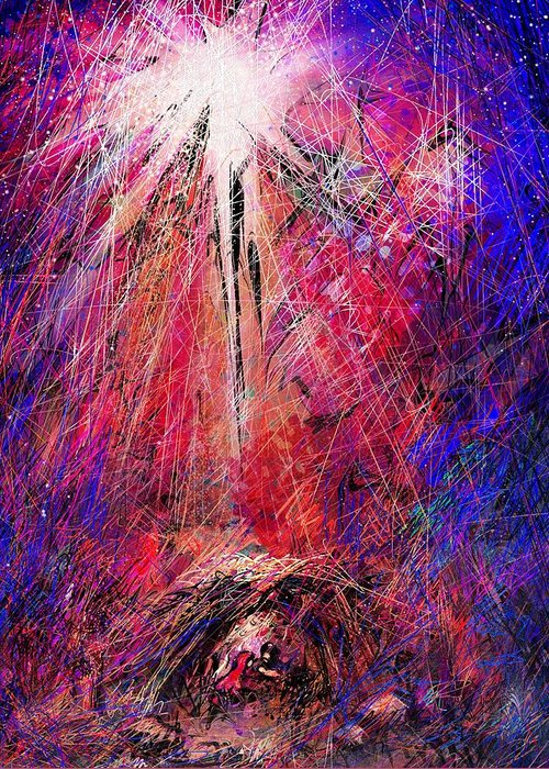 Manger Greeting Card featuring the digital art Away In A Manger by Rachel Christine Nowicki