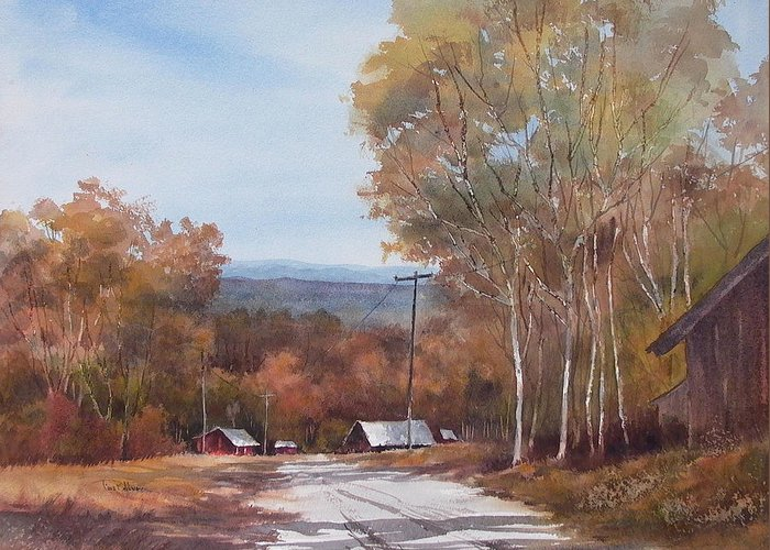 Landscape Greeting Card featuring the painting Awesome Autumn by Tina Bohlman