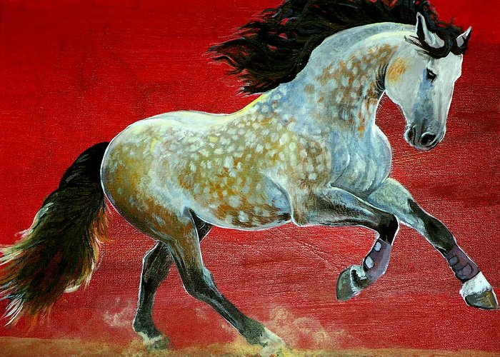 Horse Greeting Card featuring the painting Awesome Brioso by Jenn Cunningham