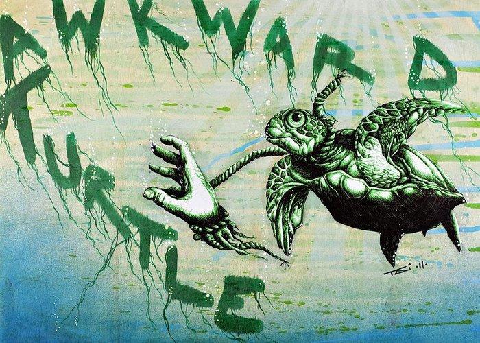 Sea Turtle Greeting Card featuring the drawing Awkward Turtle by Tai Taeoalii