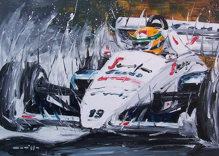 Cars Greeting Card featuring the painting Ayrton Senna Toleman 1984 by Roberto Muccilo