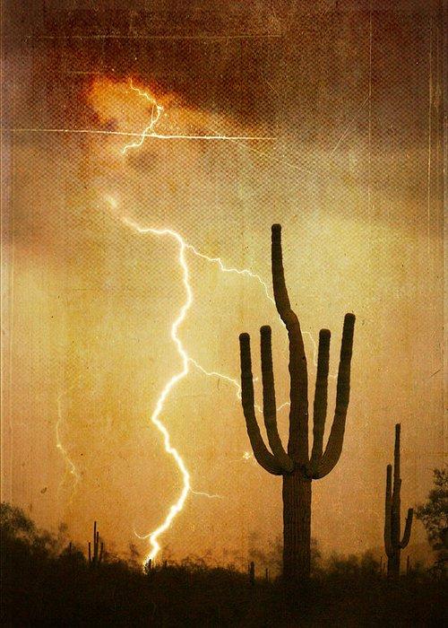 Arizona Greeting Card featuring the photograph Az Saguaro Lightning Storm V by James BO Insogna