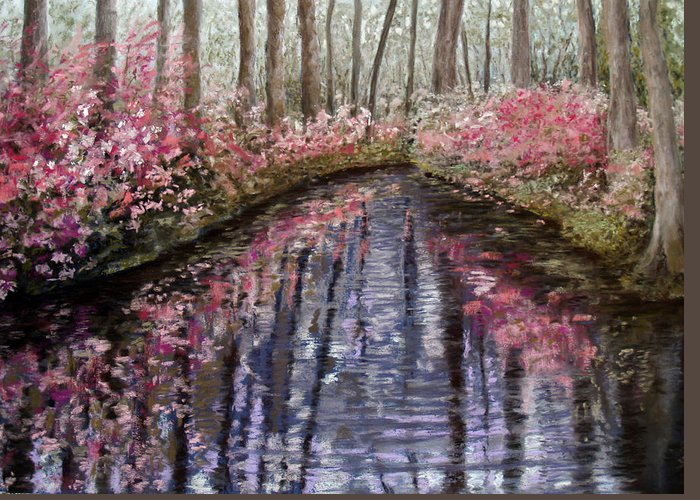 Landscape Greeting Card featuring the painting Azalea River by Susan Jenkins