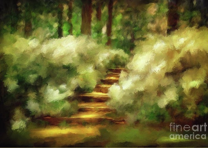 Spring Greeting Card featuring the photograph Azalea Stairs by Lois Bryan