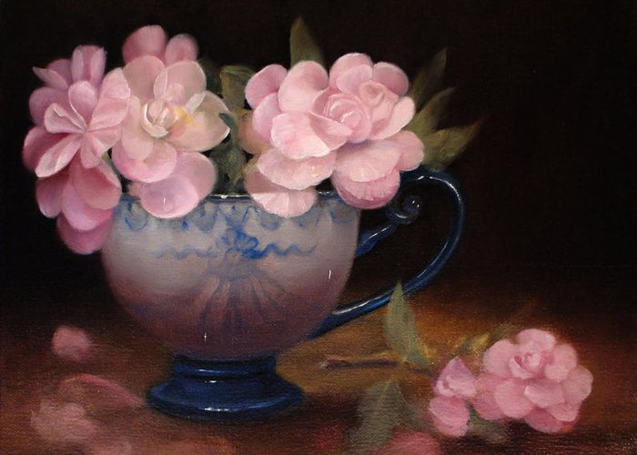 Flower Still Life Greeting Card featuring the painting Azaleas In A Cup by Loretta Fasan