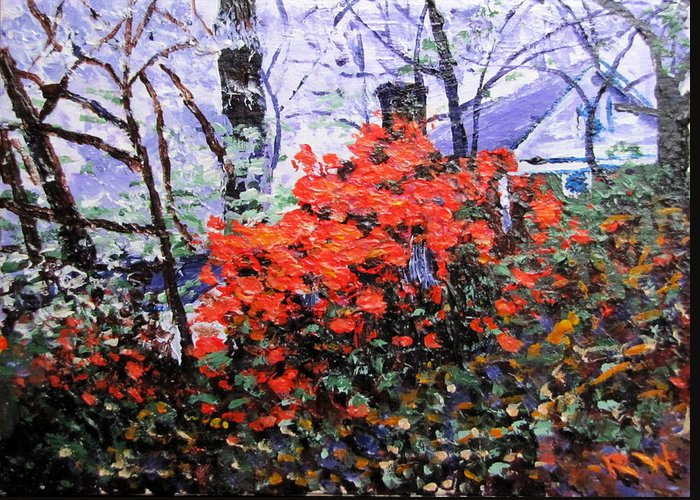 Azaleas Greeting Card featuring the painting Azaleas In Georgia by Rob White