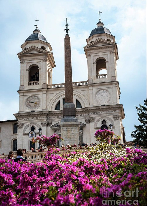 St Maria Greeting Card featuring the photograph Azaleas On The Spanish Steps In Rome by Brenda Kean