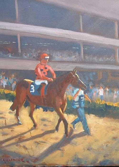 The Horses Are Approaching The Track For The Feature Race Of The Day...no. 3 Azari... Greeting Card featuring the painting AZARI a sure winner by Bryan Alexander