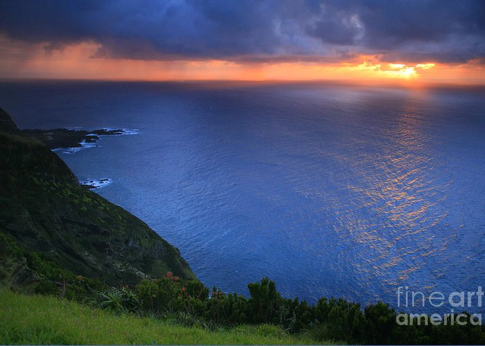 Island Greeting Card featuring the photograph Azores Islands Sunset by Gaspar Avila