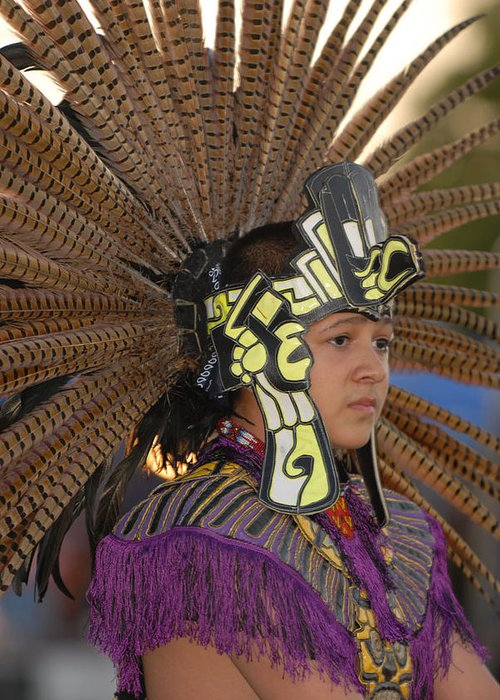 Dancer Greeting Card featuring the photograph Aztec Dancer by Dennis Hammer