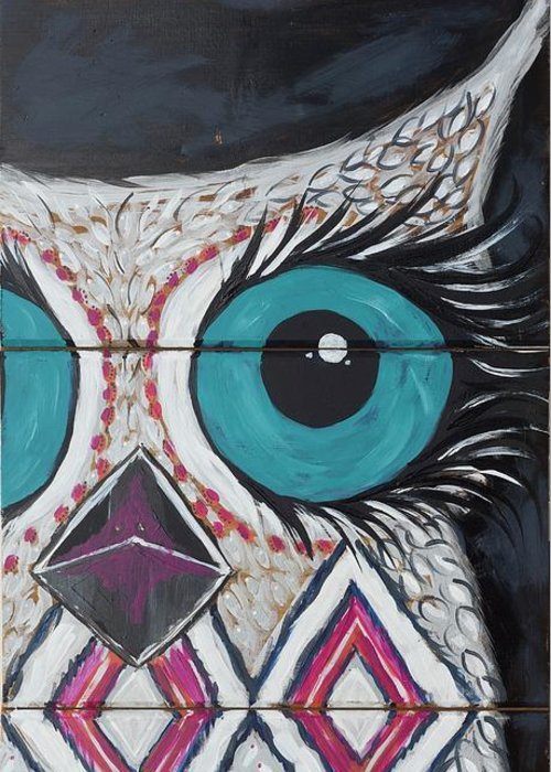 Owl Greeting Card featuring the painting Aztec Owly by Sarah Jewett
