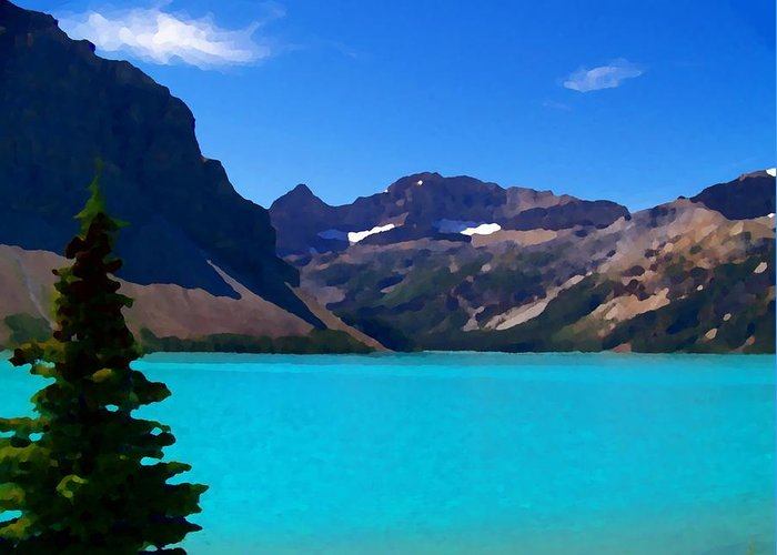 Scenic Greeting Card featuring the photograph Azure Blue Mountain Lake by Greg Hammond