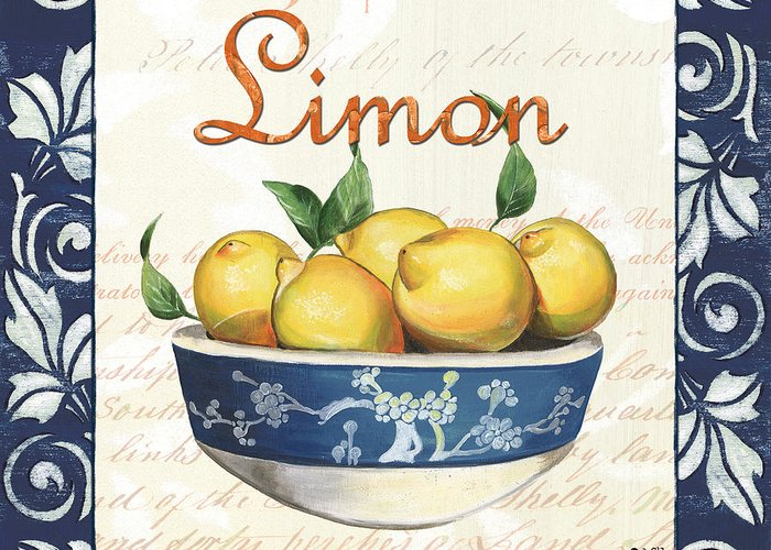 Lemon Greeting Card featuring the painting Azure Lemon 3 by Debbie DeWitt