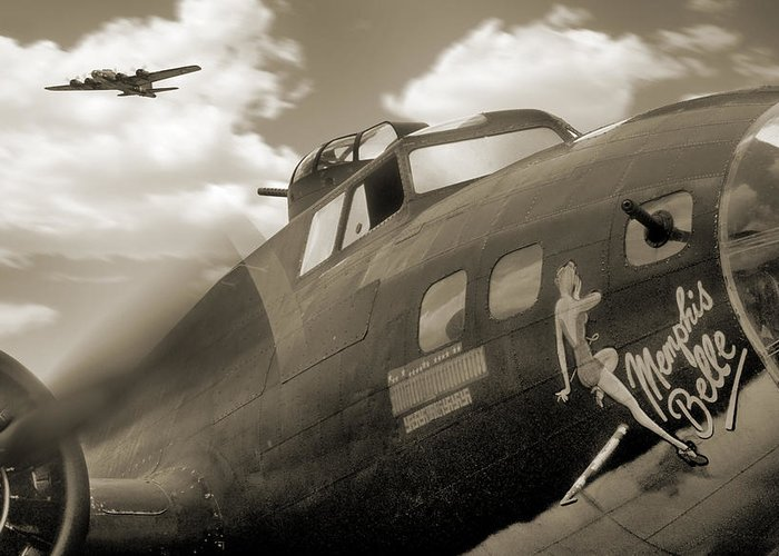 Warbird Greeting Card featuring the photograph B - 17 Memphis Belle by Mike McGlothlen