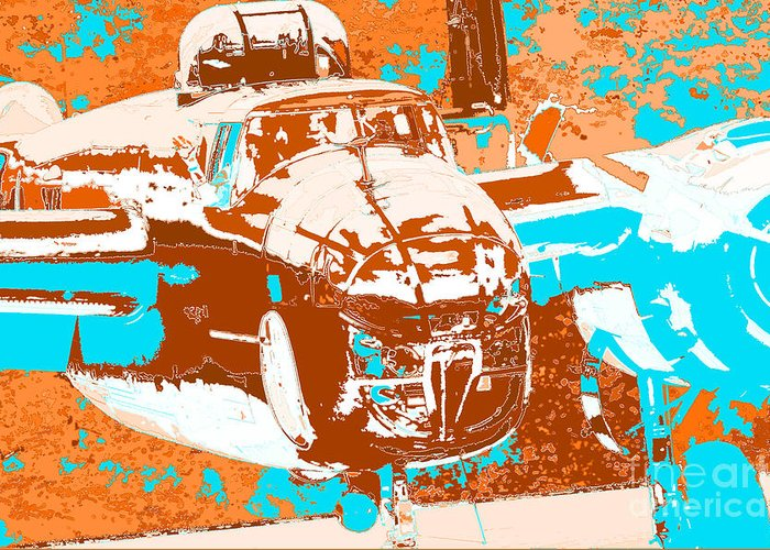 B-25 Blue Brown Greeting Card featuring the digital art B-25 Blue Brown by Chris Taggart