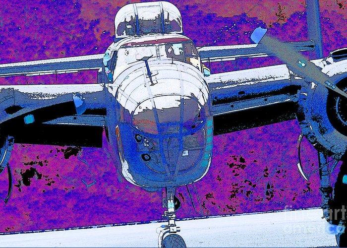 B-25 Blue Purple Greeting Card featuring the digital art B-25 Blue Purple by Chris Taggart