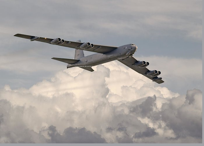 Aircraft Greeting Card featuring the photograph B52-h by Pat Speirs