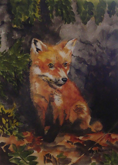 Fox Greeting Card featuring the painting Babe In The Woods by Jean Blackmer