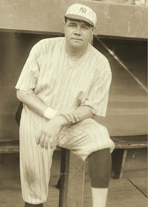 Babe Ruth Posing Greeting Card featuring the photograph Babe Ruth Posing by Padre Art
