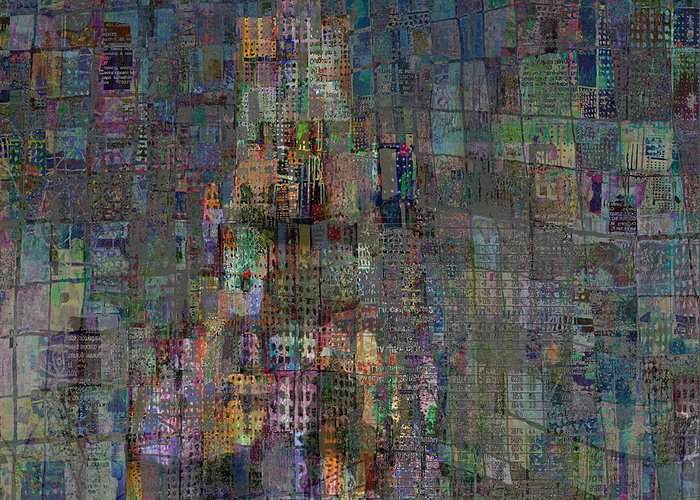 Babel Greeting Card featuring the digital art Babel by Andy Mercer