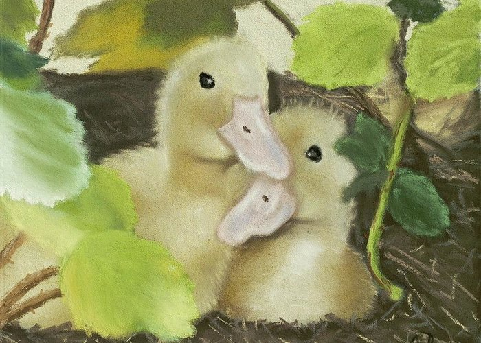 Ducks Greeting Card featuring the painting Babies In The Berry Bush by Brenda Williams