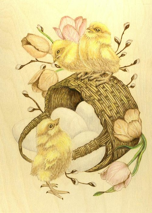Chicks Greeting Card featuring the pyrography Baby Chicks by Danette Smith