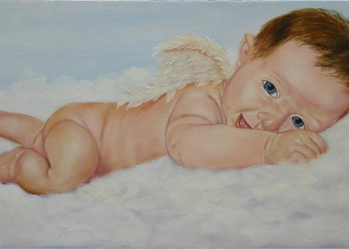 Oil Painting Greeting Card featuring the painting Baby Cupid by Joni McPherson