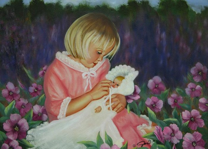 Portrait Greeting Card featuring the painting Baby Doll by Joni McPherson