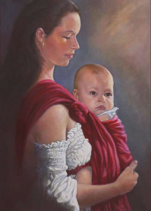 Mother And Child Greeting Card featuring the painting Baby In Rebozo by Harvie Brown