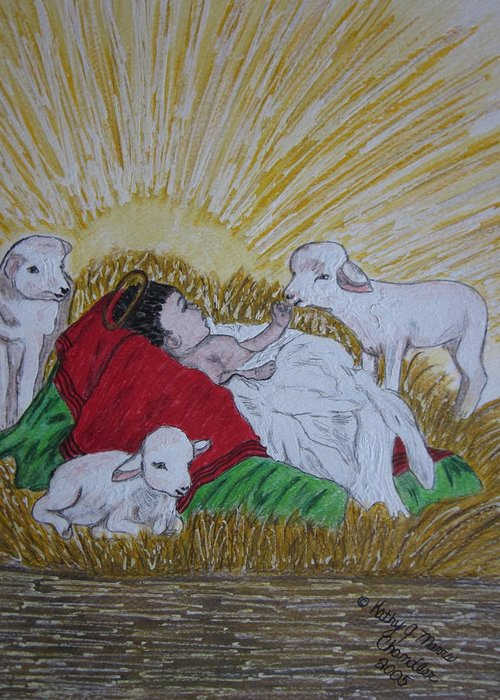 Saviour Greeting Card featuring the painting Baby Jesus at Birth by Kathy Marrs Chandler