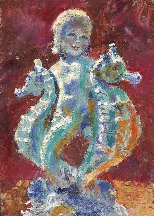 Figure Greeting Card featuring the painting Baby Mermaid Avec Seahorses by Horacio Prada