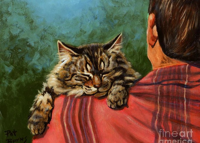Cat Greeting Card featuring the painting Babyface by Pat Burns