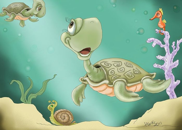 Turtle Greeting Card featuring the painting Baby's Morning Swim by Hank Nunes